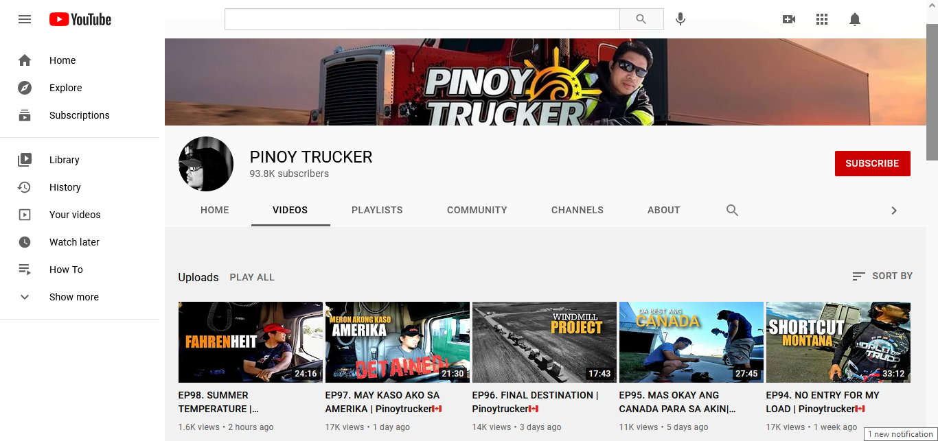 pinoy trucker youtube channel