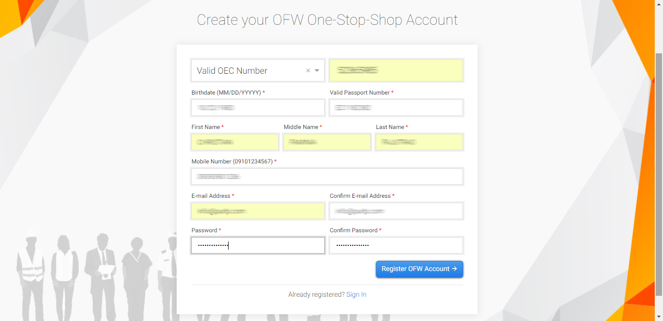 OFW One-Stop-Shop Account