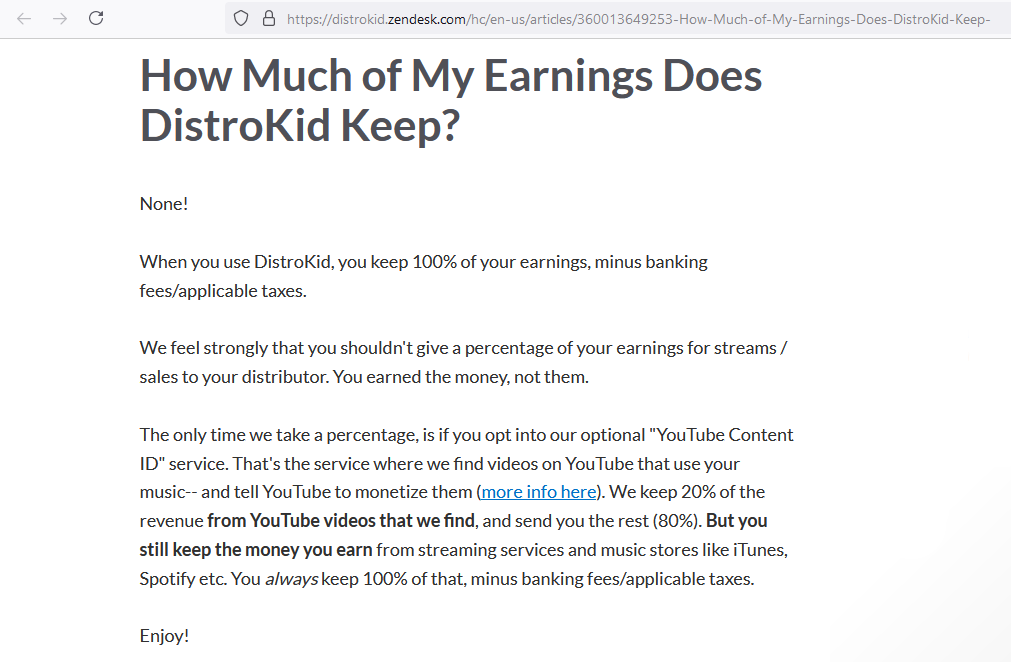 how much of my earning distrokid keep